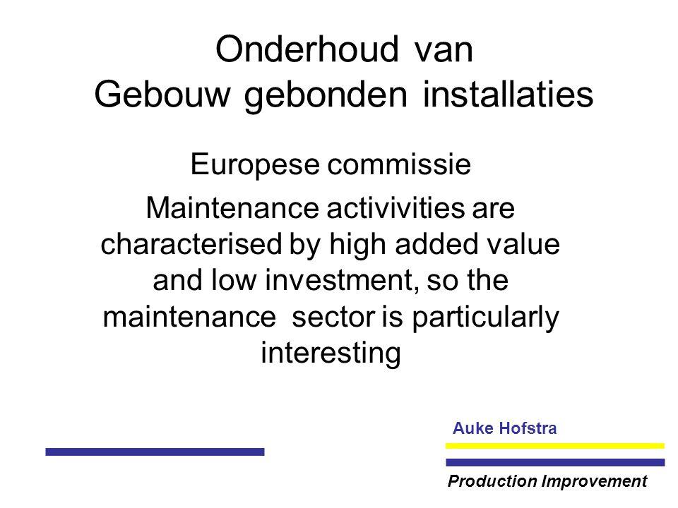 Auke Hofstra Production Improvement Onderhoud van Gebouw gebonden installaties NVDO verzamelt en verspreidt kennis over onderhoud