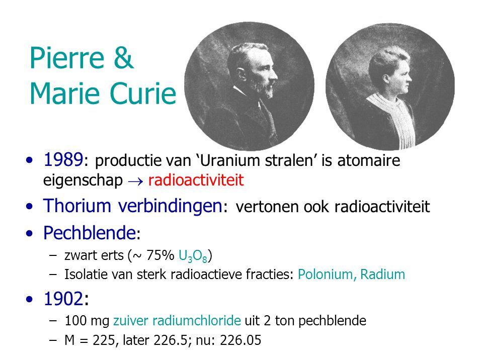 Karakterisering v/d straling X-straling: ontladen van electroscopen  ioniserende werking 1899: Absorptie experimenten  2 componenten  -component: ~10  m Al stopt  -component: ~ 1 mm Al nodig Absorptie: volgens e -  d  :  ~ 15 cm -1, constant in de diepte  :  ~ 1600 cm -1, niet constant  -deeljes: 'range' (indringdiepte) 1904 (W.H.