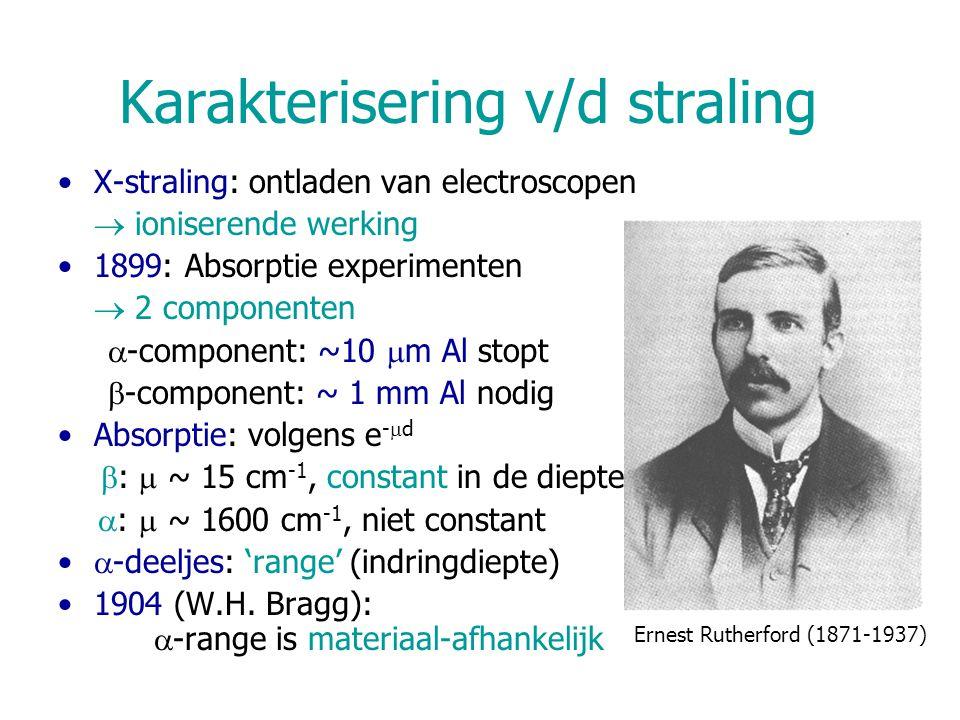 Artificiële radioactiviteit < 1934: enkel natuurlijke radioactiviteit 1934: radioactief B, Al door  -bestraling – positronen onderzoek: I.