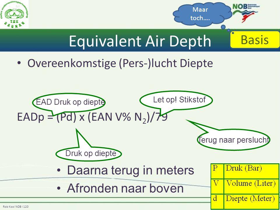 Rob Kool NOB I 120 Equivalent Air Depth Overeenkomstige (Pers-)lucht Diepte EADp = (Pd) x (EAN V% N 2 )/79 EAD Druk op diepte Druk op diepte Let op! S