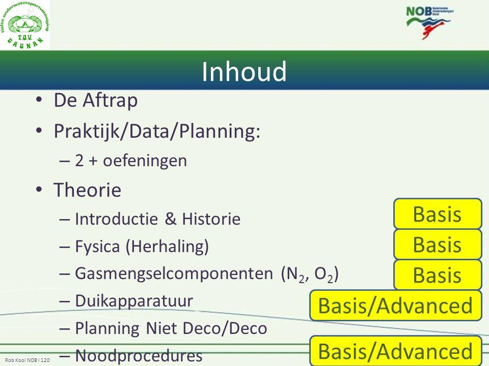 Rob Kool NOB I 120 Inhoud De Aftrap Praktijk/Data/Planning: – 2 + oefeningen Theorie – Introductie & Historie – Fysica (Herhaling) – Gasmengselcomponenten (N 2, O 2 ) – Duikapparatuur – Planning Niet Deco/Deco – Noodprocedures Basis Basis/Advanced