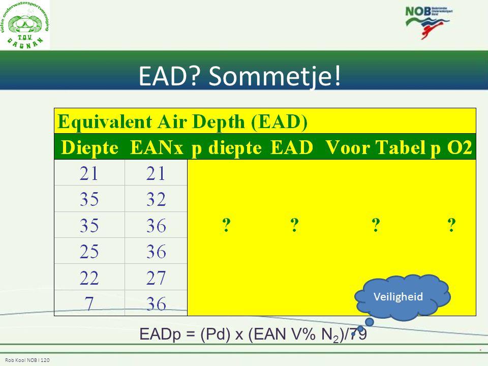 Rob Kool NOB I 120 EAD? Sommetje! EADp = (Pd) x (EAN V% N 2 )/79 Veiligheid
