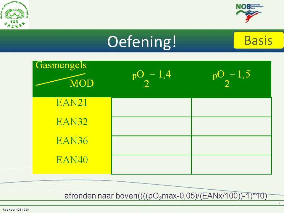 Rob Kool NOB I 120 Oefening! afronden naar boven((((pO 2 max-0,05)/(EANx/100))-1)*10) Basis