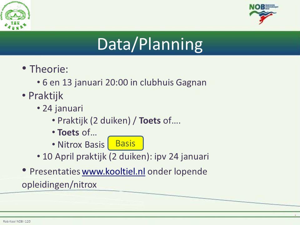 Rob Kool NOB I 120 Data/Planning Theorie: 6 en 13 januari 20:00 in clubhuis Gagnan Praktijk 24 januari Praktijk (2 duiken) / Toets of…. Toets of… Nitr