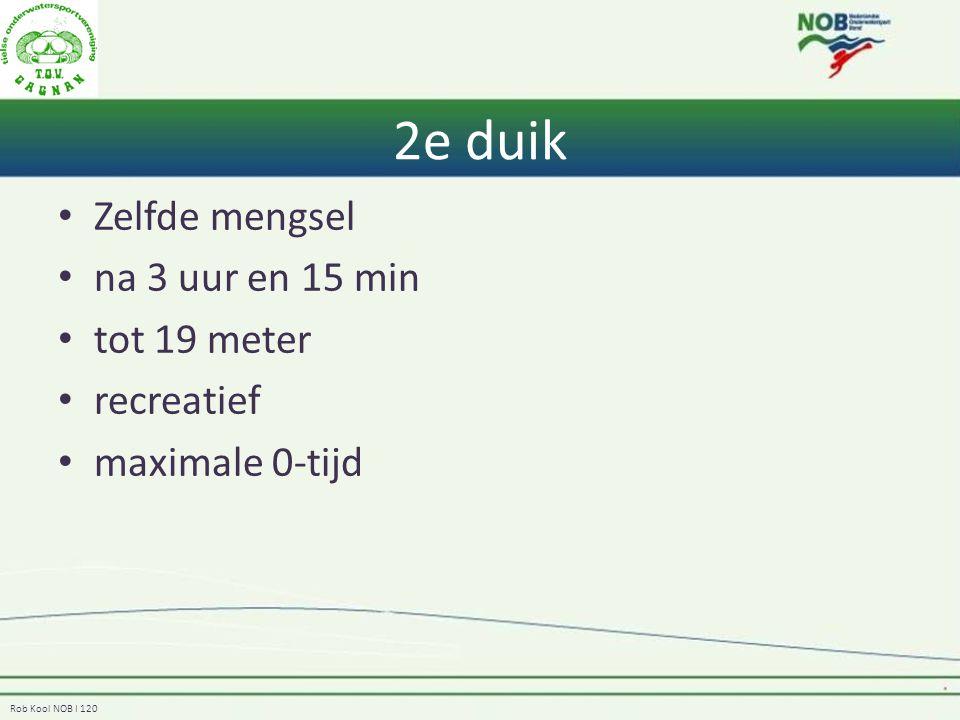 Rob Kool NOB I 120 2e duik Zelfde mengsel na 3 uur en 15 min tot 19 meter recreatief maximale 0-tijd