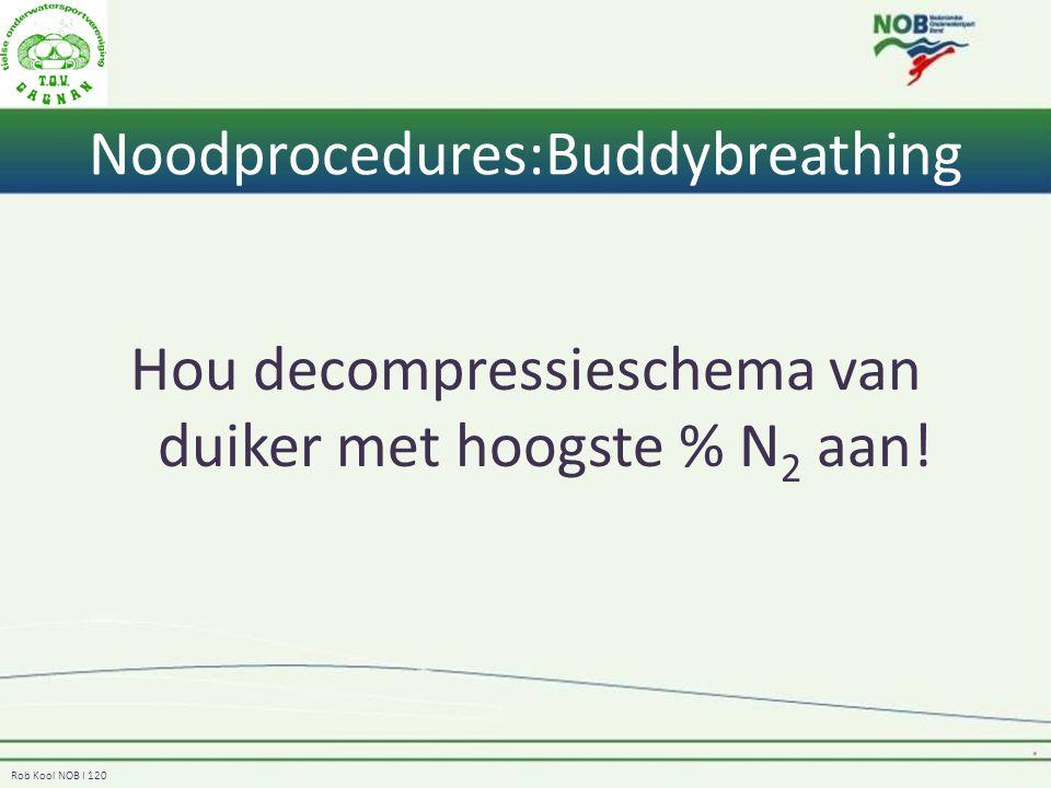 Rob Kool NOB I 120 Noodprocedures:Buddybreathing Hou decompressieschema van duiker met hoogste % N 2 aan!