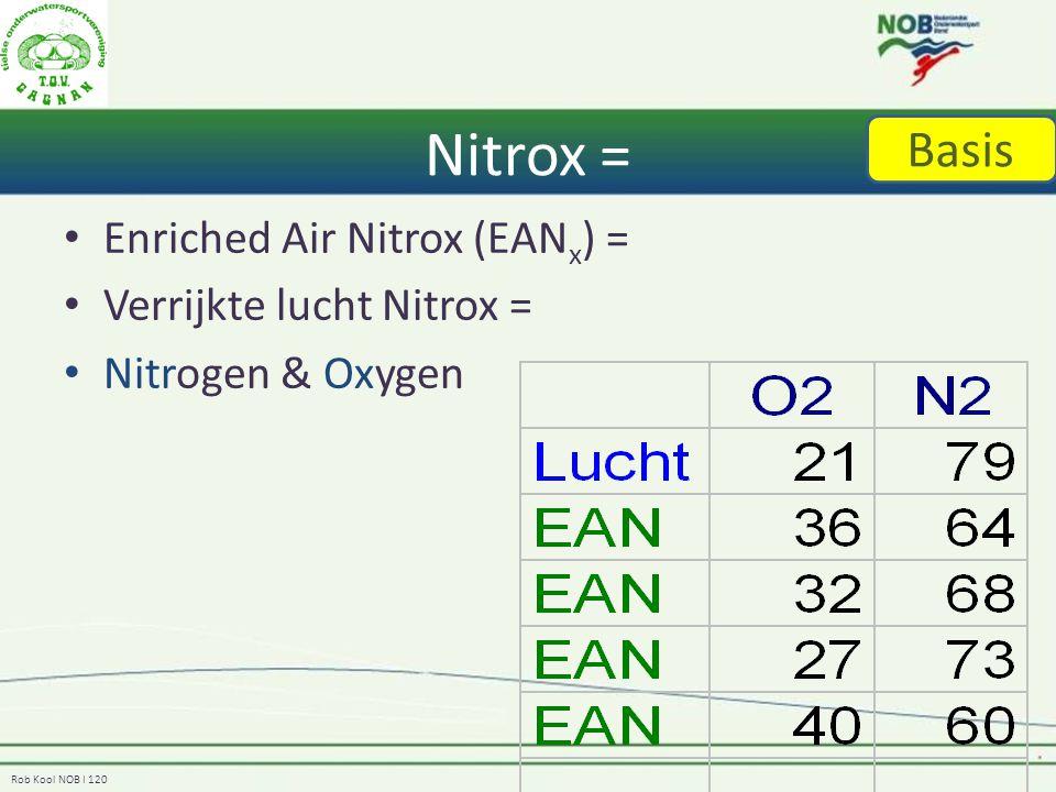 Rob Kool NOB I 120 Nitrox = Enriched Air Nitrox (EAN x ) = Verrijkte lucht Nitrox = Nitrogen & Oxygen Basis