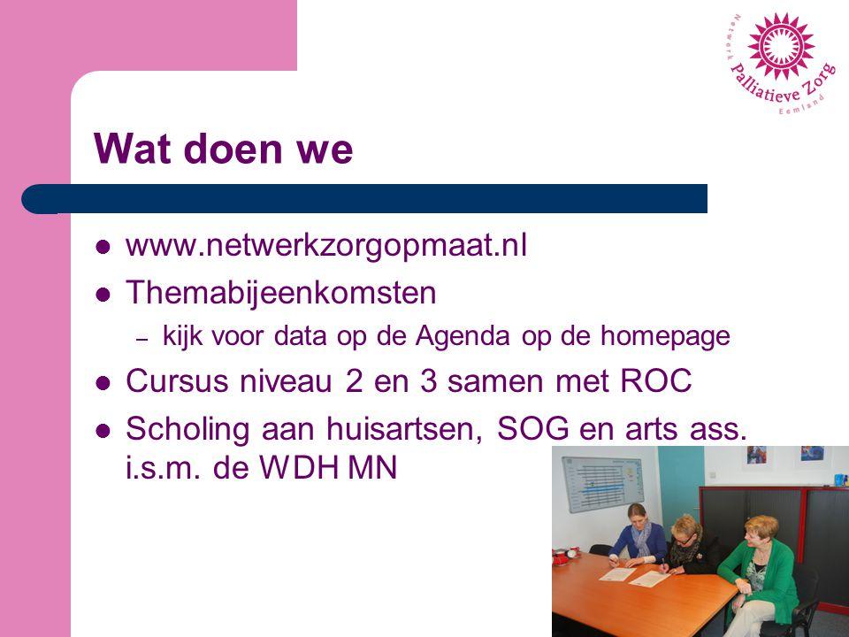Wat doen we www.netwerkzorgopmaat.nl Themabijeenkomsten – kijk voor data op de Agenda op de homepage Cursus niveau 2 en 3 samen met ROC Scholing aan h