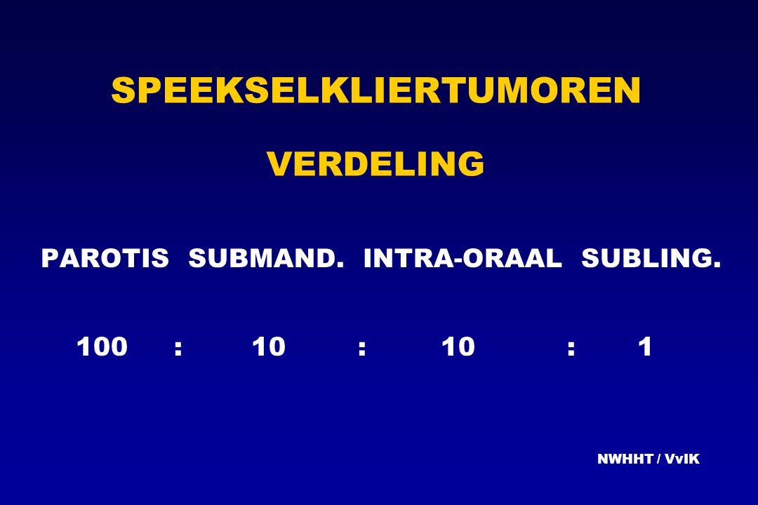 SPEEKSELKLIERTUMOREN VERDELING PAROTIS SUBMAND. INTRA-ORAAL SUBLING. 100 :10 :10:1 NWHHT / VvIK
