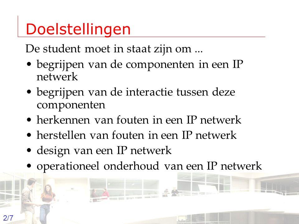 2003-2004 - Information management 2 Groep T Leuven – Information department 2/7 Doelstellingen De student moet in staat zijn om...