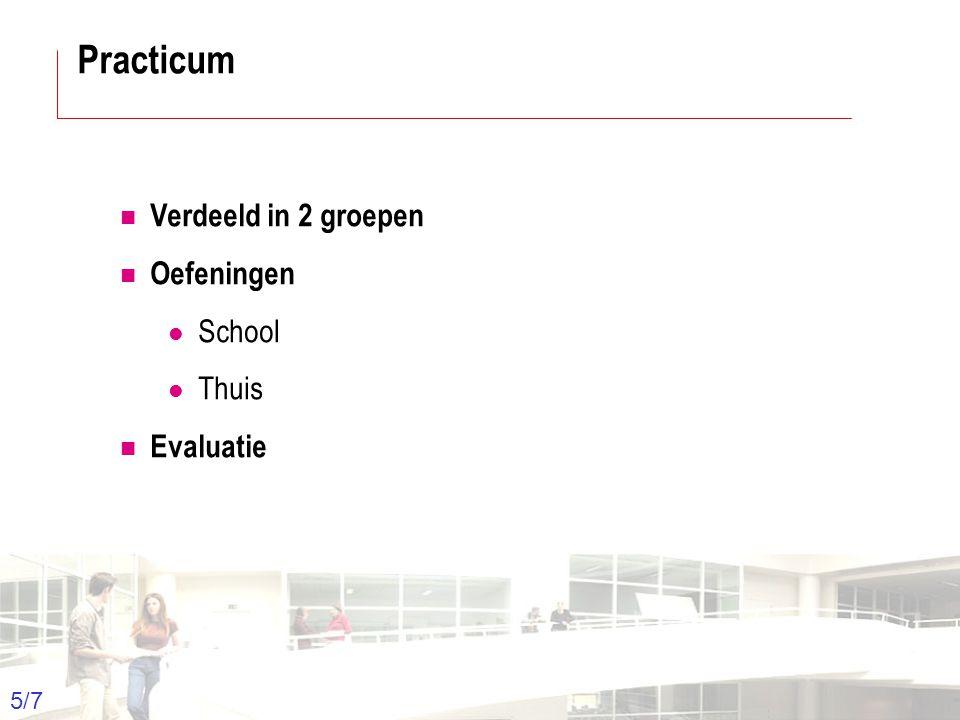 2003-2004 - Information management 5 Groep T Leuven – Information department 5/7 Verdeeld in 2 groepen Oefeningen School Thuis Evaluatie Practicum