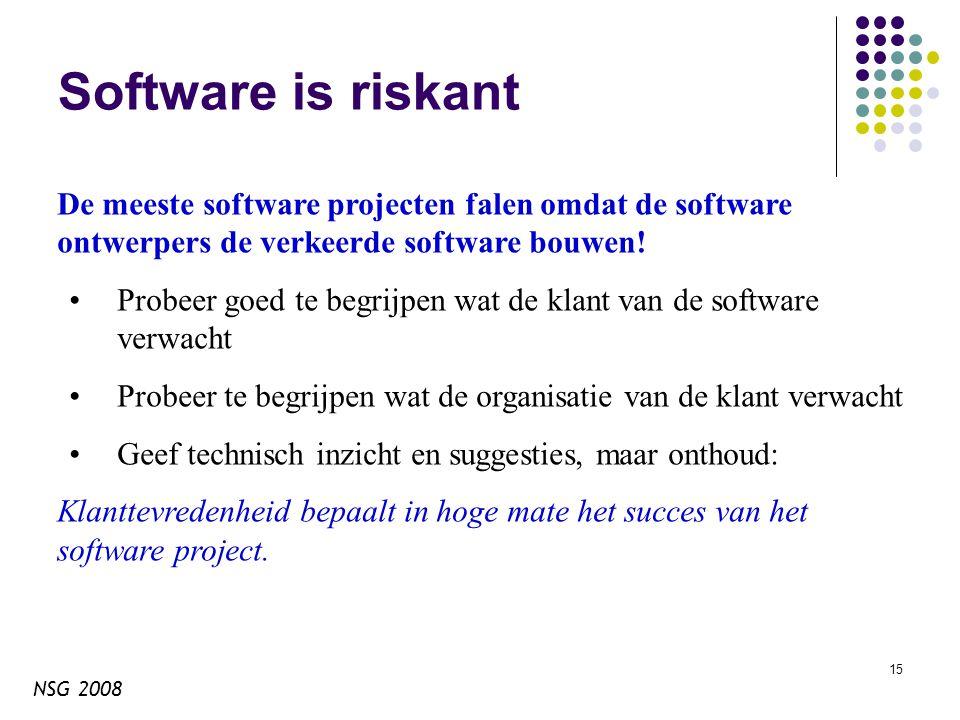 NSG 2008 15 Software is riskant De meeste software projecten falen omdat de software ontwerpers de verkeerde software bouwen.