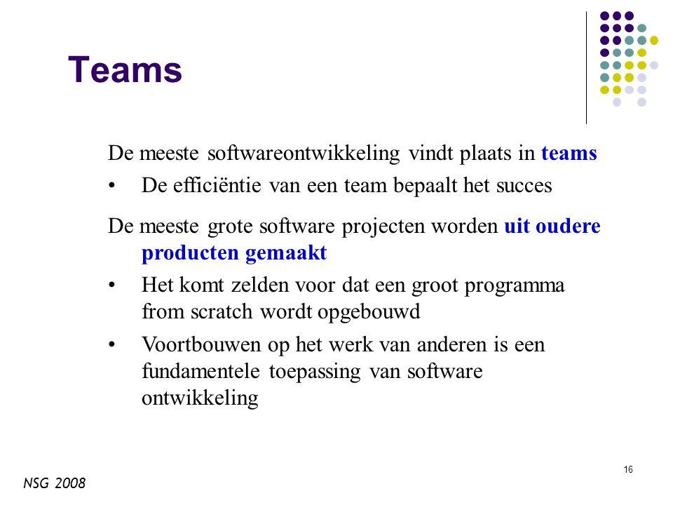 NSG 2008 16 Teams De meeste softwareontwikkeling vindt plaats in teams De efficiëntie van een team bepaalt het succes De meeste grote software projecten worden uit oudere producten gemaakt Het komt zelden voor dat een groot programma from scratch wordt opgebouwd Voortbouwen op het werk van anderen is een fundamentele toepassing van software ontwikkeling