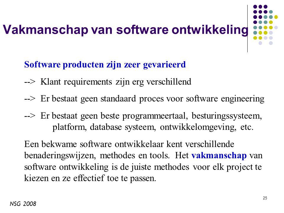 NSG 2008 25 Vakmanschap van software ontwikkeling Software producten zijn zeer gevarieerd --> Klant requirements zijn erg verschillend --> Er bestaat geen standaard proces voor software engineering --> Er bestaat geen beste programmeertaal, besturingssysteem, platform, database systeem, ontwikkelomgeving, etc.