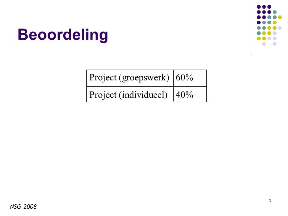 NSG 2008 3 Beoordeling Project (groepswerk)60% Project (individueel)40%