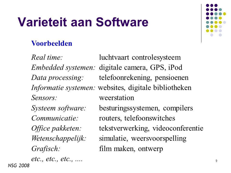 NSG 2008 10 Software is duur Software is duur.De bulk aan kosten zijn salarissen (jouw salaris).
