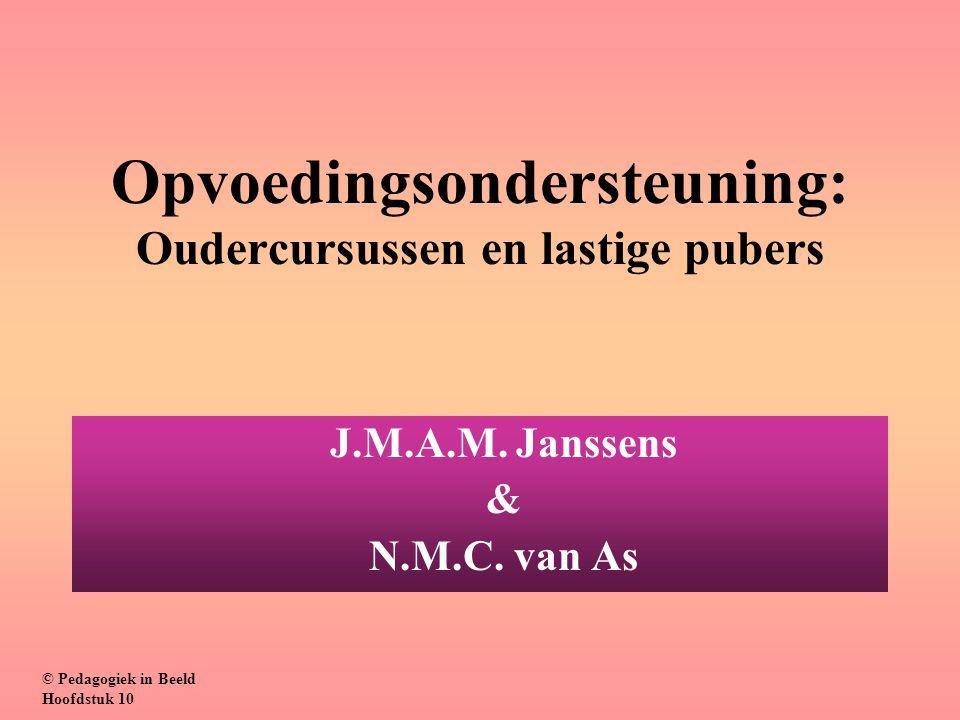 Opvoedingsondersteuning: Oudercursussen en lastige pubers J.M.A.M. Janssens & N.M.C. van As © Pedagogiek in Beeld Hoofdstuk 10