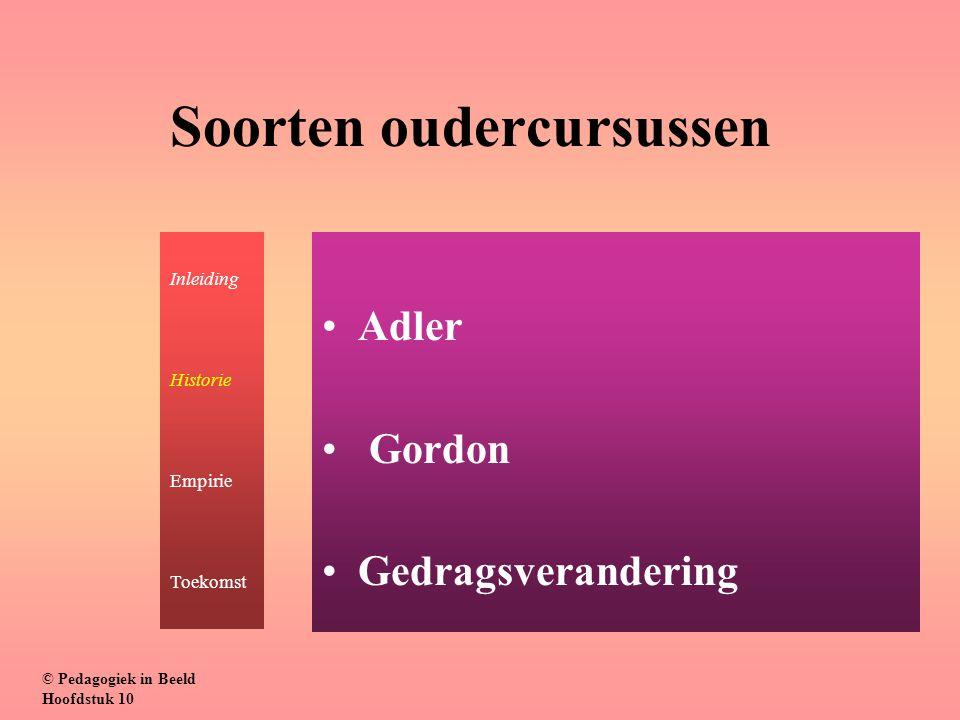 Soorten oudercursussen Adler Gordon Gedragsverandering © Pedagogiek in Beeld Hoofdstuk 10 Inleiding Historie Empirie Toekomst