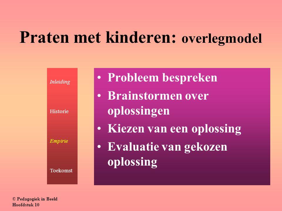 Praten met kinderen: overlegmodel Probleem bespreken Brainstormen over oplossingen Kiezen van een oplossing Evaluatie van gekozen oplossing © Pedagogi