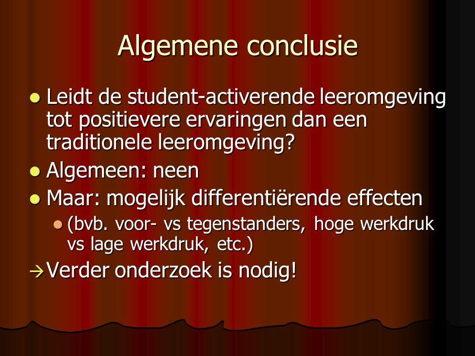 Algemene conclusie Leidt de student-activerende leeromgeving tot positievere ervaringen dan een traditionele leeromgeving? Leidt de student-activerend