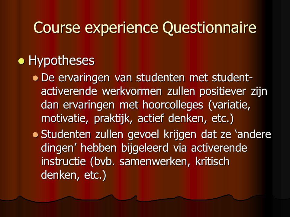 Course experience Questionnaire Hypotheses Hypotheses De ervaringen van studenten met student- activerende werkvormen zullen positiever zijn dan ervar