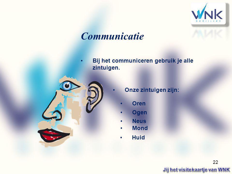 22 Bij het communiceren gebruik je alle zintuigen. Onze zintuigen zijn: Oren Ogen Neus Mond Huid Communicatie