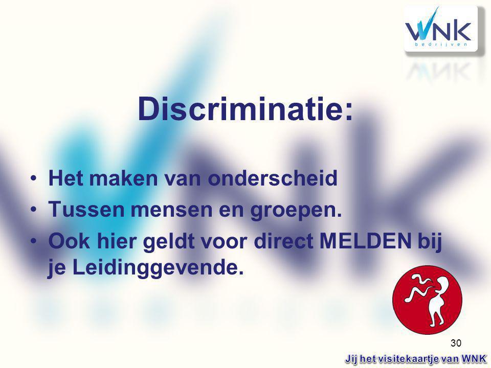 30 Discriminatie: Het maken van onderscheid Tussen mensen en groepen. Ook hier geldt voor direct MELDEN bij je Leidinggevende.