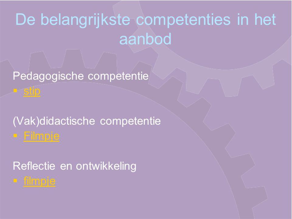 De belangrijkste competenties in het aanbod Pedagogische competentie   stip stip (Vak)didactische competentie   Filmpje Filmpje Reflectie en ontwikkeling   filmpje filmpje