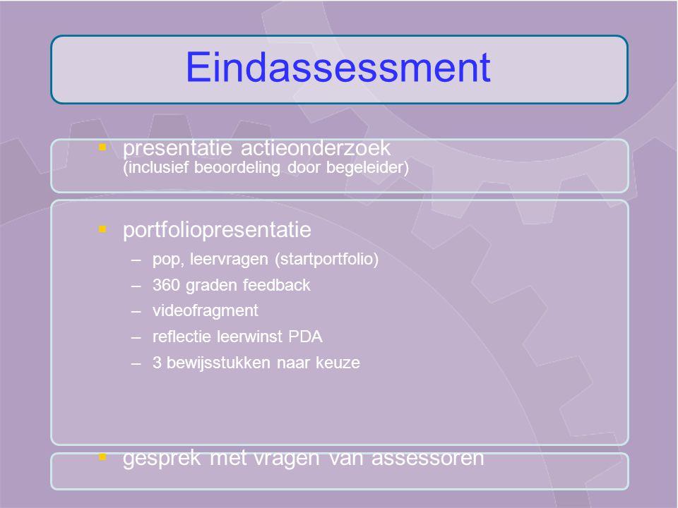   presentatie actieonderzoek (inclusief beoordeling door begeleider)   portfoliopresentatie – –pop, leervragen (startportfolio) – –360 graden feed