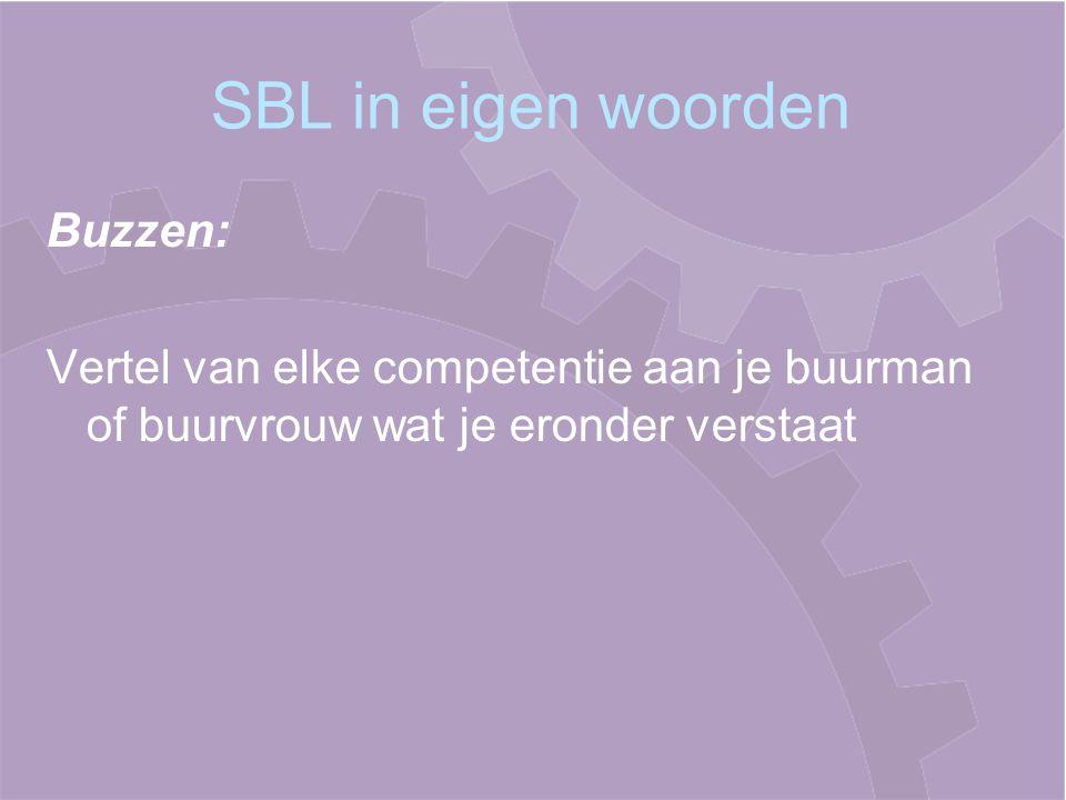 SBL in eigen woorden Buzzen: Vertel van elke competentie aan je buurman of buurvrouw wat je eronder verstaat