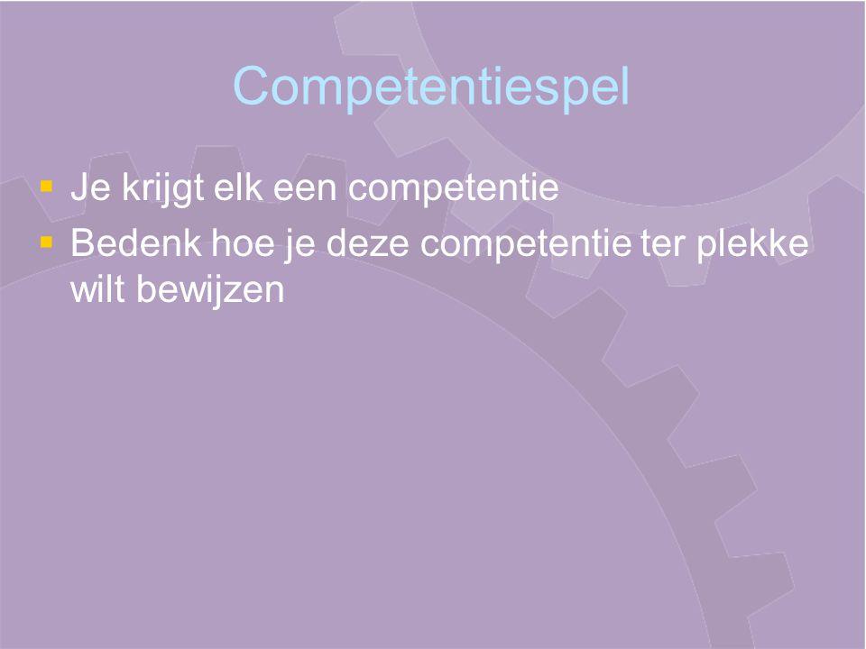 Competentiespel   Je krijgt elk een competentie   Bedenk hoe je deze competentie ter plekke wilt bewijzen