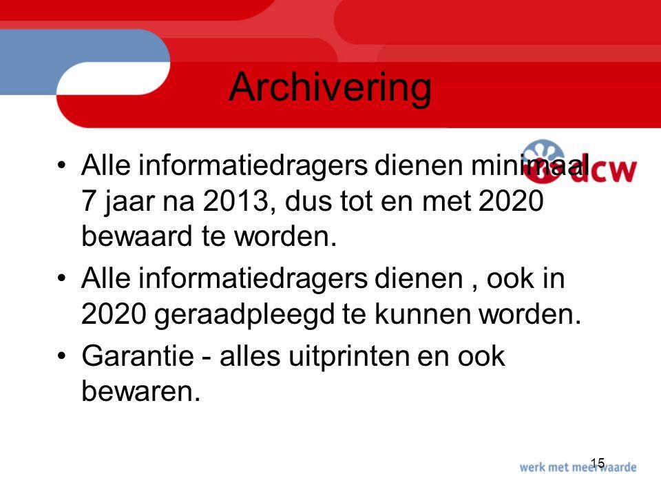 15 Archivering Alle informatiedragers dienen minimaal 7 jaar na 2013, dus tot en met 2020 bewaard te worden. Alle informatiedragers dienen, ook in 202