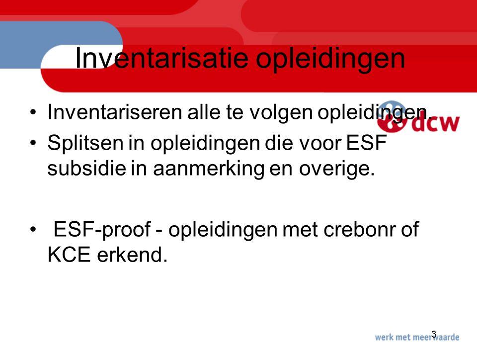 3 Inventarisatie opleidingen Inventariseren alle te volgen opleidingen. Splitsen in opleidingen die voor ESF subsidie in aanmerking en overige. ESF-pr
