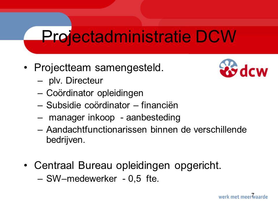 7 Projectadministratie DCW Projectteam samengesteld. – plv. Directeur –Coördinator opleidingen –Subsidie coördinator – financiën – manager inkoop - aa