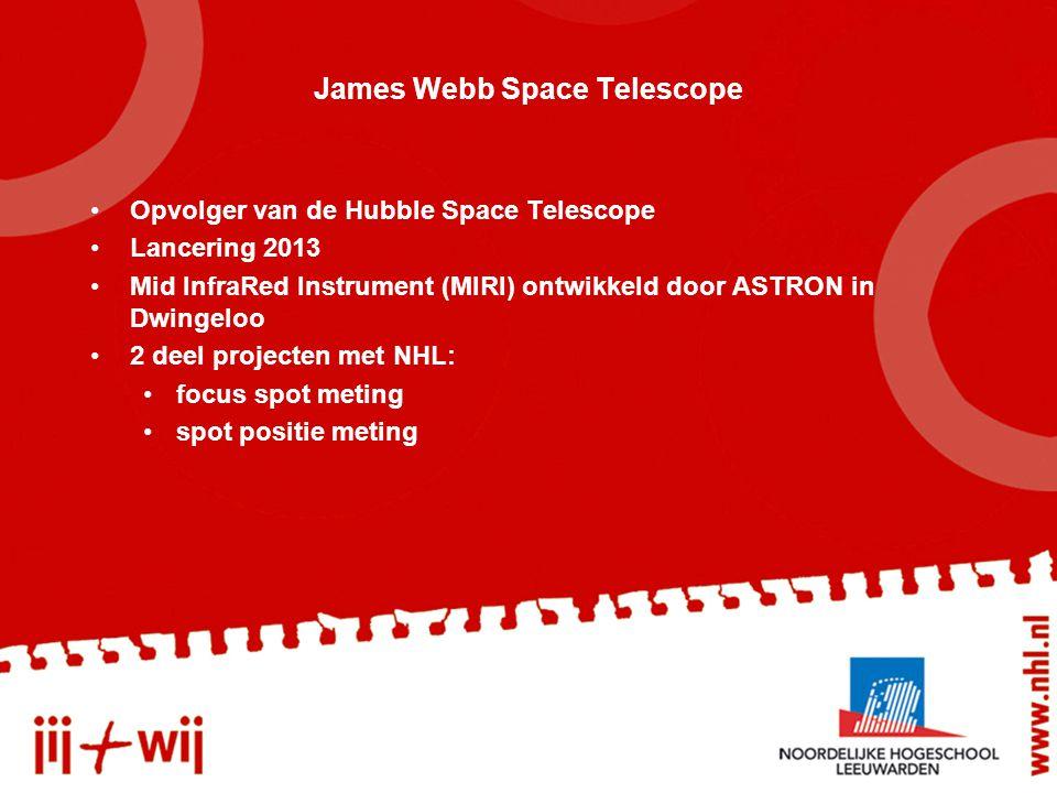 Opvolger van de Hubble Space Telescope Lancering 2013 Mid InfraRed Instrument (MIRI) ontwikkeld door ASTRON in Dwingeloo 2 deel projecten met NHL: focus spot meting spot positie meting