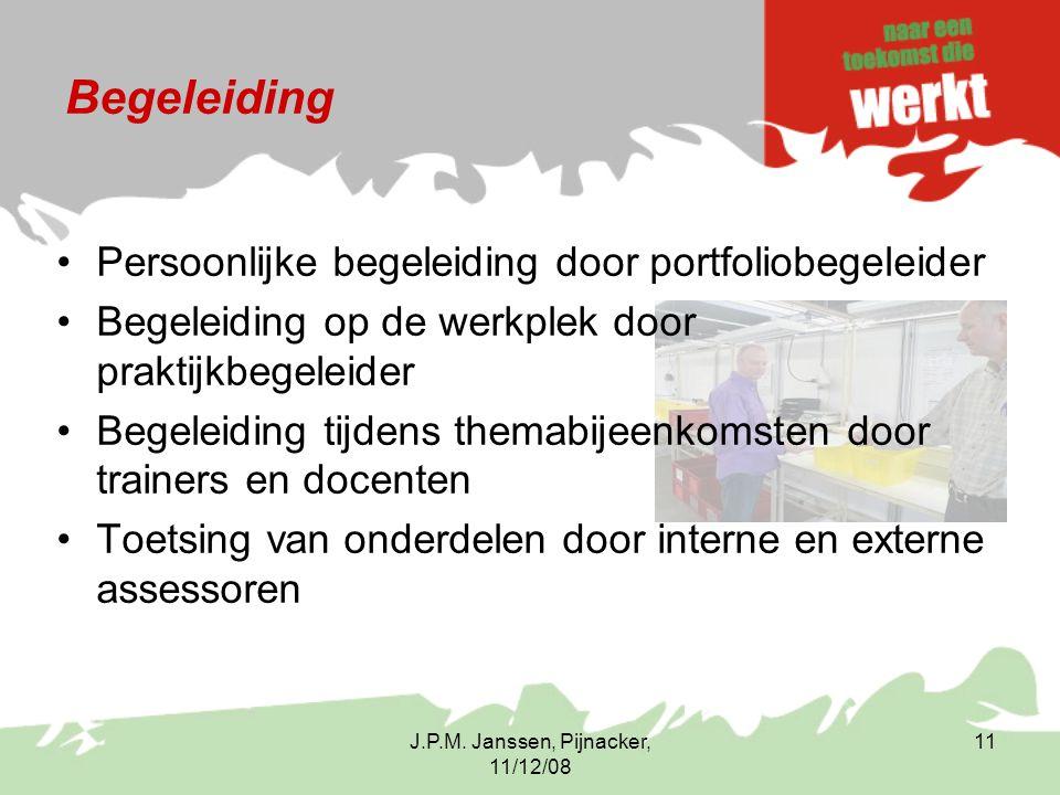 J.P.M. Janssen, Pijnacker, 11/12/08 11 Begeleiding Persoonlijke begeleiding door portfoliobegeleider Begeleiding op de werkplek door praktijkbegeleide
