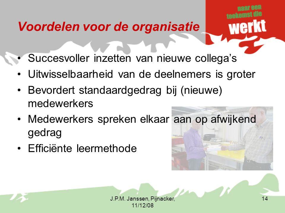 J.P.M. Janssen, Pijnacker, 11/12/08 14 Voordelen voor de organisatie Succesvoller inzetten van nieuwe collega's Uitwisselbaarheid van de deelnemers is