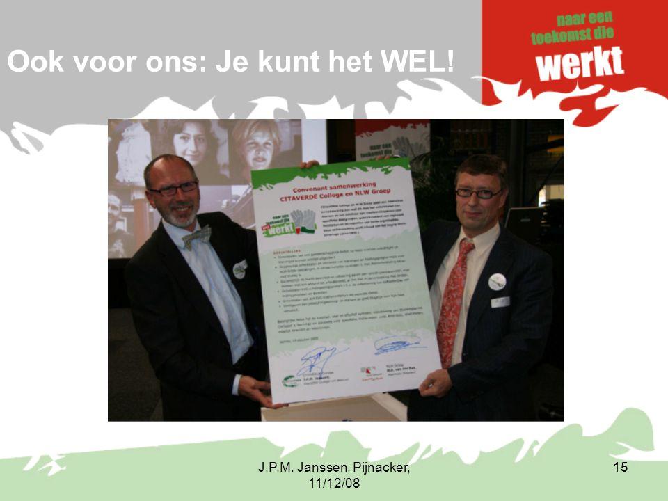 J.P.M. Janssen, Pijnacker, 11/12/08 15 Ook voor ons: Je kunt het WEL!