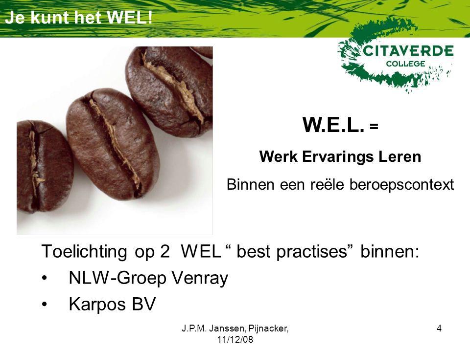 """J.P.M. Janssen, Pijnacker, 11/12/08 4 Je kunt het WEL! Toelichting op 2 WEL """" best practises"""" binnen: NLW-Groep Venray Karpos BV W.E.L. = Werk Ervarin"""