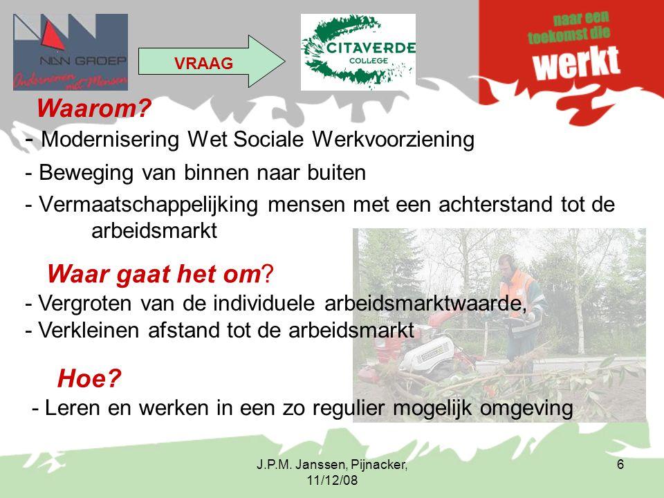 J.P.M. Janssen, Pijnacker, 11/12/08 6 - Modernisering Wet Sociale Werkvoorziening - Beweging van binnen naar buiten - Vermaatschappelijking mensen met