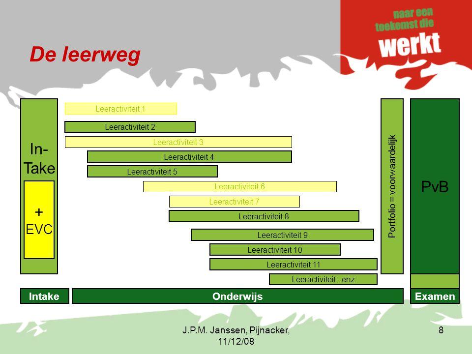 J.P.M. Janssen, Pijnacker, 11/12/08 8 De leerweg In- Take PvB Portfolio = voorwaardelijk Leeractiviteit 2 Leeractiviteit 4 Leeractiviteit 5 Leeractivi