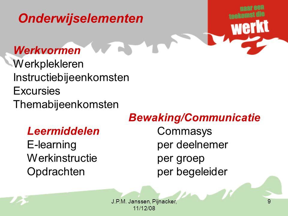 J.P.M. Janssen, Pijnacker, 11/12/08 9 Onderwijselementen Werkvormen Werkplekleren Instructiebijeenkomsten Excursies Themabijeenkomsten Bewaking/Commun