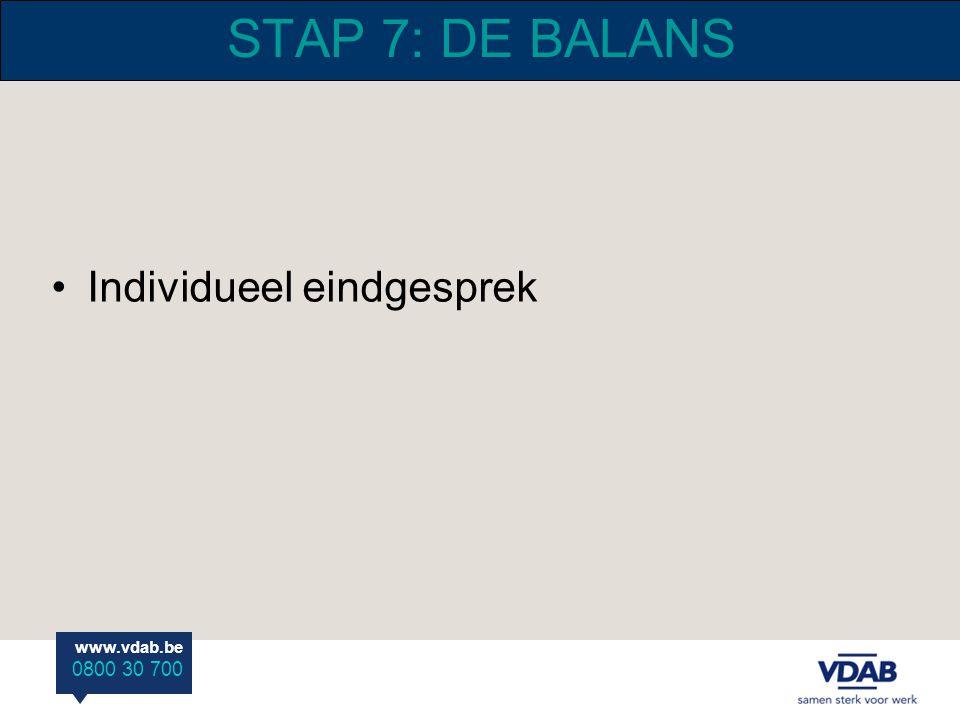 www.vdab.be 0800 30 700 STAP 7: DE BALANS Individueel eindgesprek