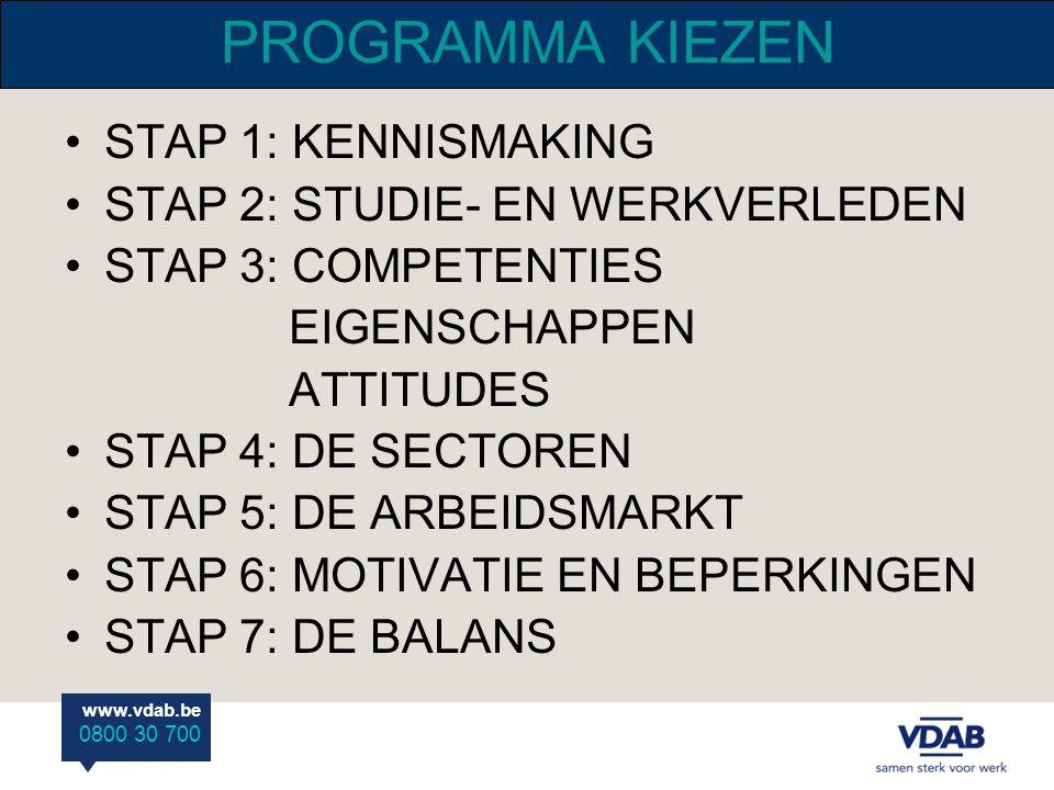 www.vdab.be 0800 30 700 PROGRAMMA KIEZEN STAP 1: KENNISMAKING STAP 2: STUDIE- EN WERKVERLEDEN STAP 3: COMPETENTIES EIGENSCHAPPEN ATTITUDES STAP 4: DE