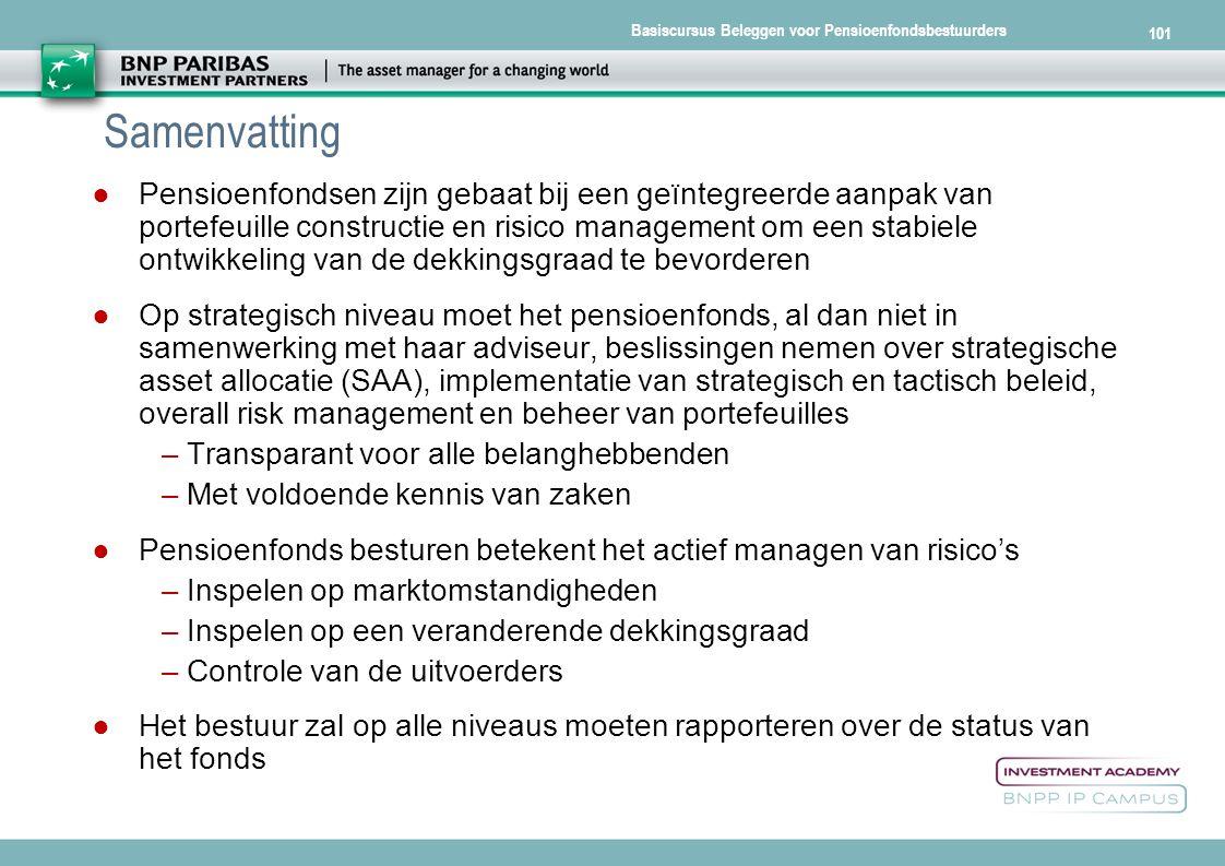 Basiscursus Beleggen voor Pensioenfondsbestuurders 101 Samenvatting ● Pensioenfondsen zijn gebaat bij een geïntegreerde aanpak van portefeuille constr