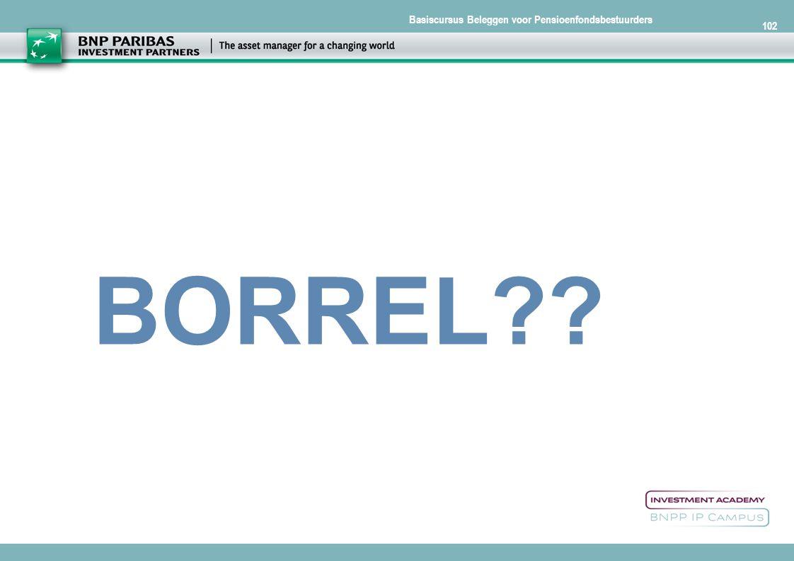 Basiscursus Beleggen voor Pensioenfondsbestuurders 102 BORREL??