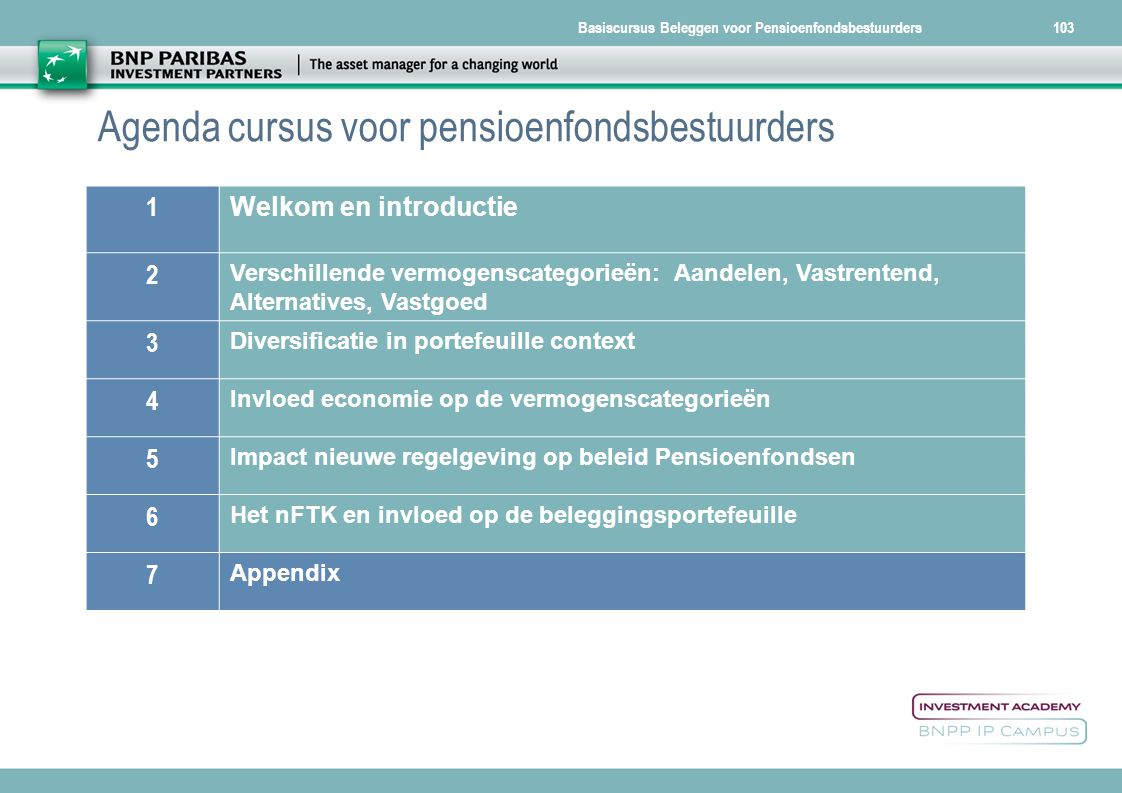 Basiscursus Beleggen voor Pensioenfondsbestuurders103 Agenda cursus voor pensioenfondsbestuurders 1 Welkom en introductie 2 Verschillende vermogenscat