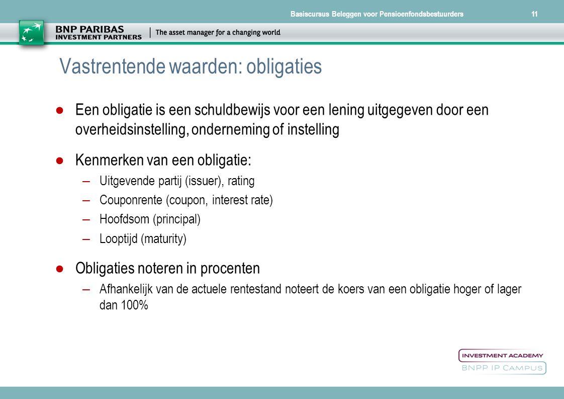 Basiscursus Beleggen voor Pensioenfondsbestuurders Vastrentende waarden: obligaties ●Een obligatie is een schuldbewijs voor een lening uitgegeven door