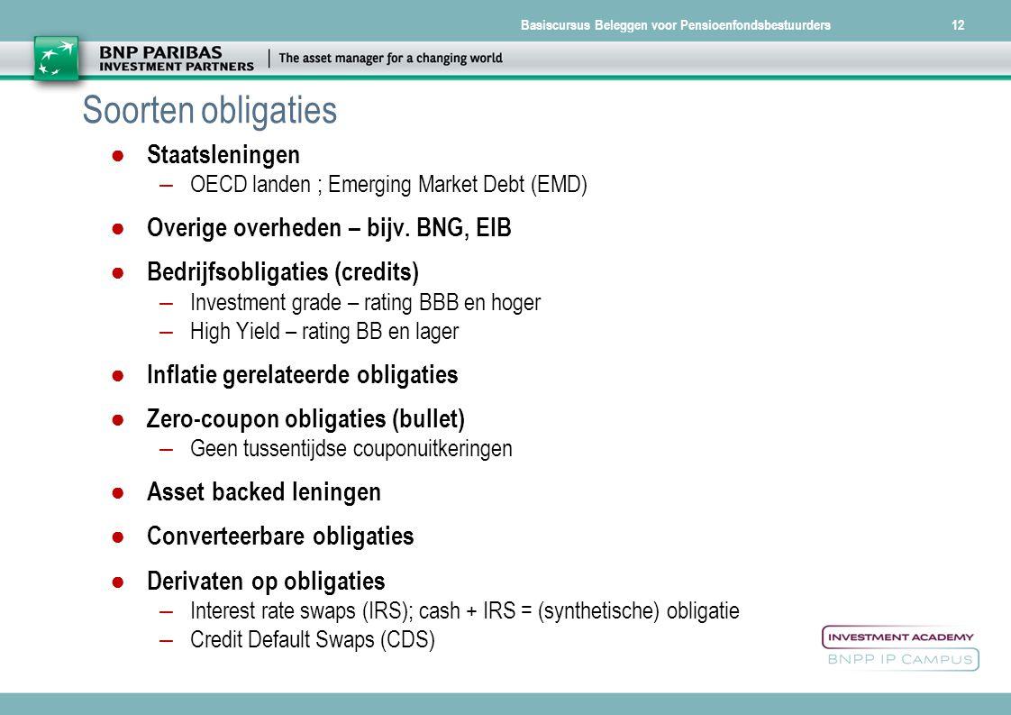 Basiscursus Beleggen voor Pensioenfondsbestuurders Soorten obligaties ● Staatsleningen – OECD landen ; Emerging Market Debt (EMD) ● Overige overheden