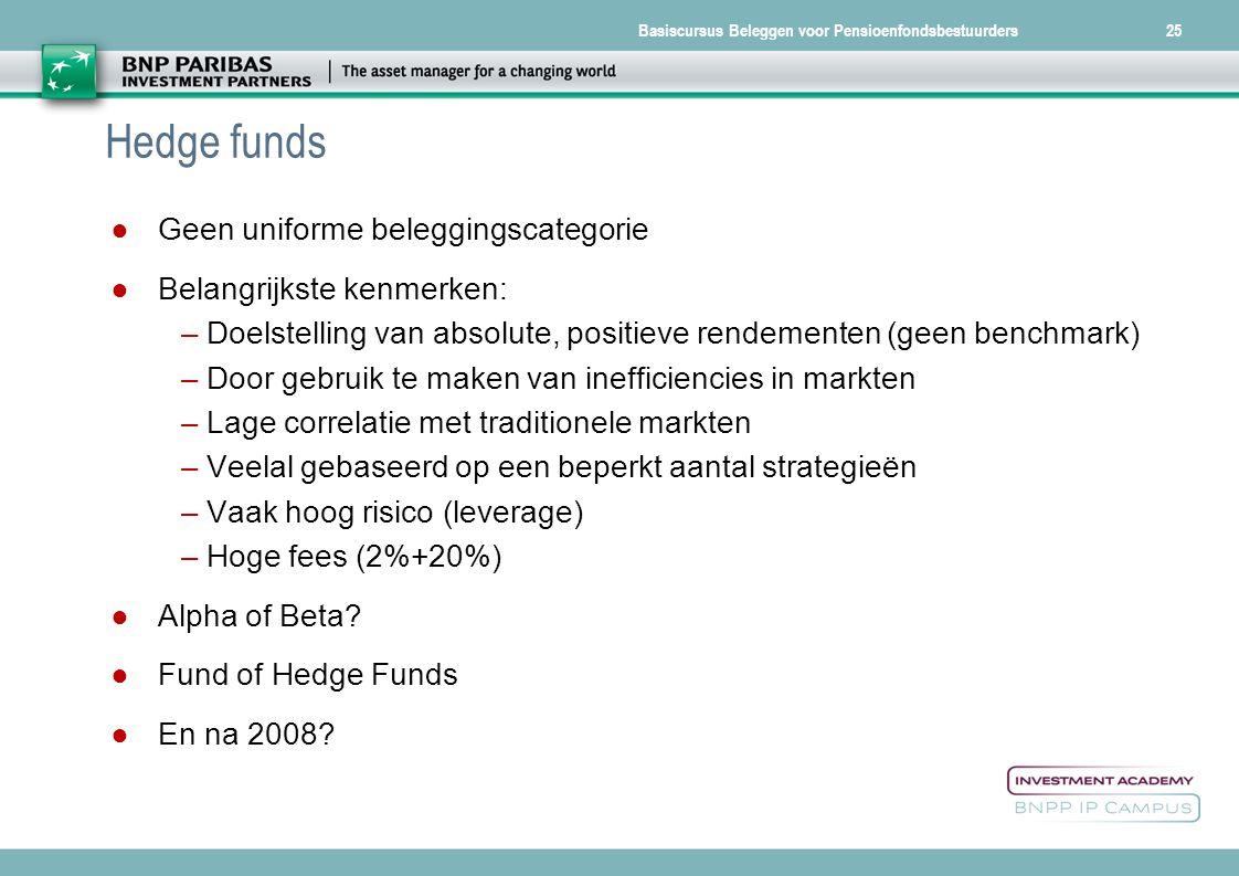 Basiscursus Beleggen voor Pensioenfondsbestuurders25 Hedge funds ● Geen uniforme beleggingscategorie ● Belangrijkste kenmerken: –Doelstelling van abso